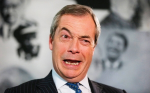 UK Independence Party (UKIP) leader Farage speaks during an interview with Reuters in London