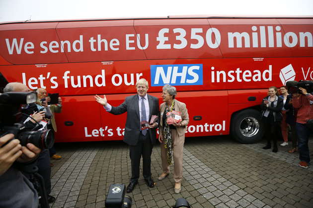 Former London Mayor Boris Johnson speaks at the launch of the Vote Leave bus campaign, in favour of Britain leaving the European Union, in Truro